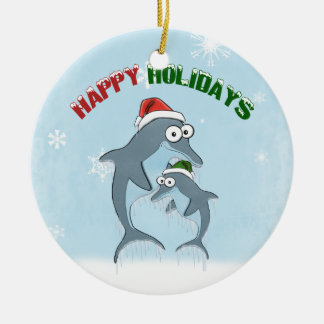 Holiday Dolphins Ornament (double sided)