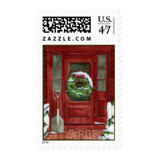 Holiday Door Postage Stamp