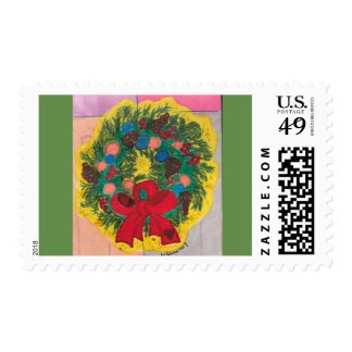 Holiday Door Wreath, Red Bow, Pinecones, Arty Postage