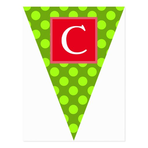 Holiday Dots Green Bunting Flag Postcards