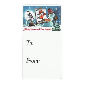 Holiday Dreams Vintage Gift Tag Custom Shipping Label