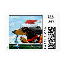 Holiday Driving Dachshund Postage