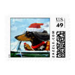 Holiday Driving Dachshund Postage Stamps