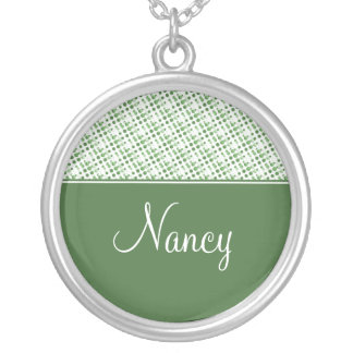 Holiday Effervescence Holiday Necklace, Dark Green Round Pendant Necklace