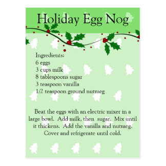 Holiday Egg Nog Recipe Post Card