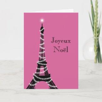 Holiday Eiffel Tower Card fuchsia