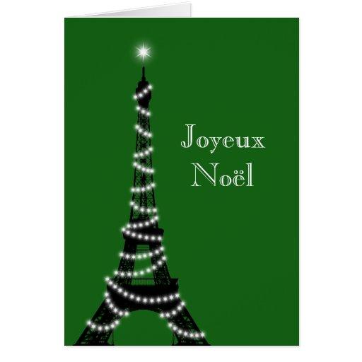 Holiday Eiffel Tower Card green
