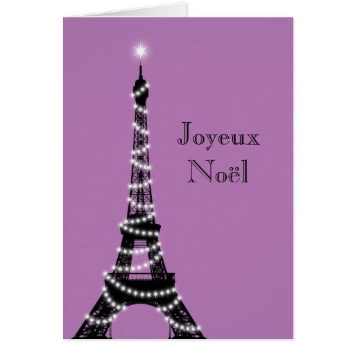 Holiday Eiffel Tower Card purple