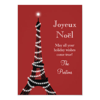 Holiday Eiffel Tower Card red