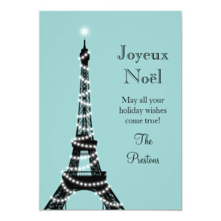 Holiday Eiffel Tower Card turquoise