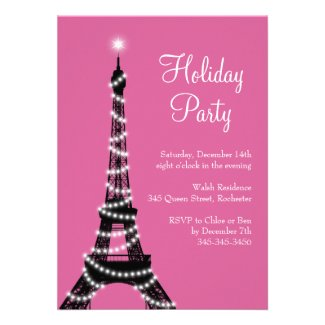 Holiday Eiffel Tower Invitation pink