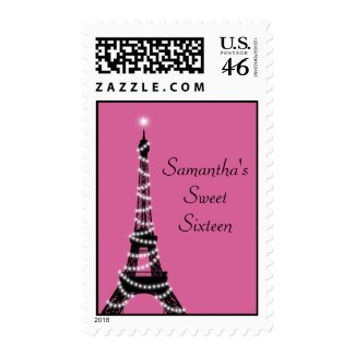 Holiday Eiffel Tower Sweet Sixteen Stamp fuchsia