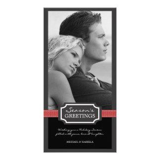 Holiday Elegance Season's Greeting Red Ribbon Photo Card
