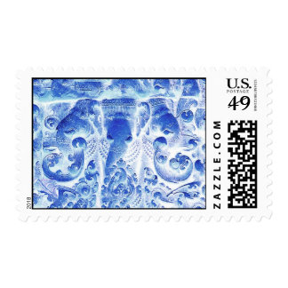HOLIDAY ELEPHANTS POSTAGE STAMP BLUE AND WHITE