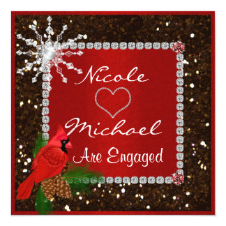 Holiday ENAGEMENT Invitation with CRYSTAL SNOWFLAK