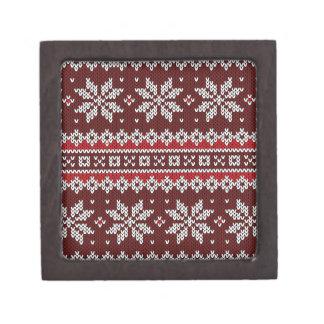 Holiday Fair Isle Knit Pattern Keepsake Box