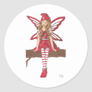 Holiday Fairy Classic Round Sticker