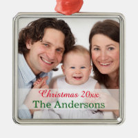 Holiday Family photo template customized Metal Ornament