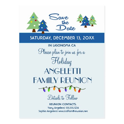 Holiday Family Reunion, Party, Event Save the Date Postcards