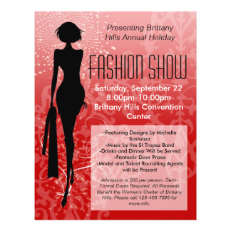"""Holiday Fashion Show Flyer, Red Silhouette Swirl 8.5"""" X 11"""" Flyer"""