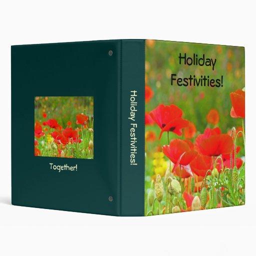 Holiday Festivities! binder Green Meadow Red Poppy