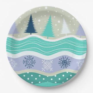 Holiday Fir Trees Snowflakes Snow Christmas Paper Plate