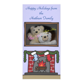 Holiday Fireplace Family Picture Frame Photo Card