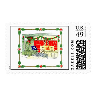 Holiday Fireplace Postage