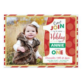 Holiday First Birthday Invitation, Christmas Card