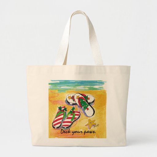 Holiday flip-flops -  tote canvas bags