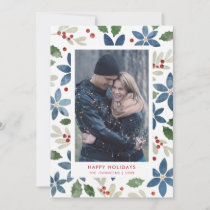 Holiday Floral Flat Photo Card