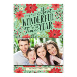 Holiday Floral Photo Card Invite