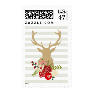 Holiday Floral Stag Postage