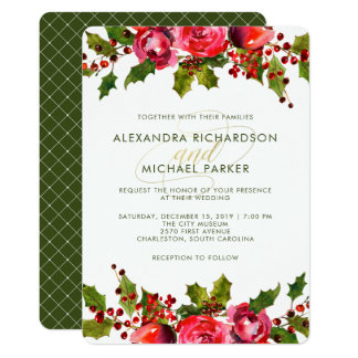 Holiday Floral Wedding Invitation