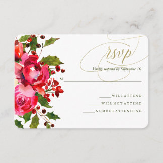 Holiday Floral Wedding RSVP