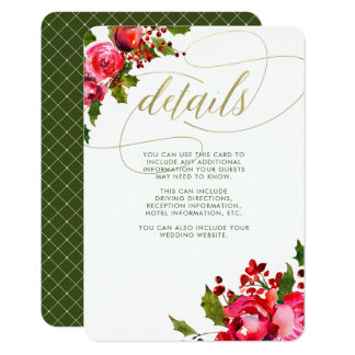 Holiday Floral Wedding | Wedding Guest Information Card