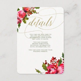 Holiday Floral Wedding | Wedding Guest Information Enclosure Card