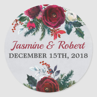 Holiday Floral Winter Christmas December Wedding Classic Round Sticker