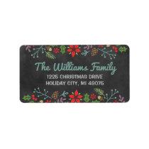 Holiday Florals | Chalkboard Return Address Label