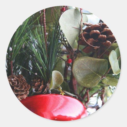 Holiday Flower Arrangement Round Sticker