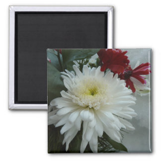 Holiday Flowers and Snow I Christmas Floral 2 Inch Square Magnet