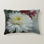 Holiday Flowers and Snow I Christmas Floral Decorative Pillow