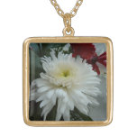 Holiday Flowers and Snow I Christmas Floral Gold Plated Necklace