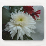 Holiday Flowers and Snow I Christmas Floral Mouse Pad