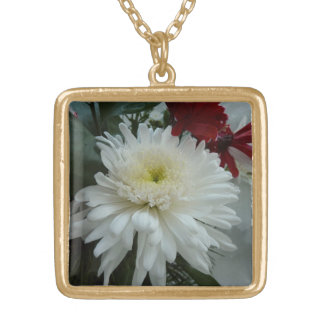 Holiday Flowers and Snow I Christmas Floral Square Pendant Necklace