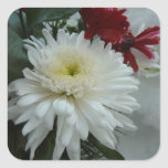 Holiday Flowers and Snow I Christmas Floral Square Sticker