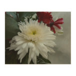 Holiday Flowers and Snow I Christmas Floral Wood Wall Art
