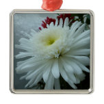 Holiday Flowers and Snow II Christmas Floral Metal Ornament
