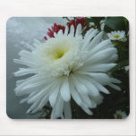 Holiday Flowers and Snow II Christmas Floral Mouse Pad