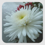 Holiday Flowers and Snow II Christmas Floral Square Sticker